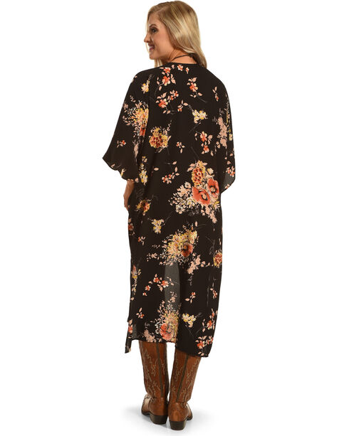 Ces Femme Women's Long Floral Kimono, Black, hi-res