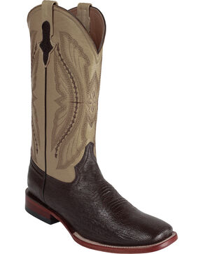 Ferrini Men's Smooth Ostrich Exotic Western Boots, Chocolate, hi-res