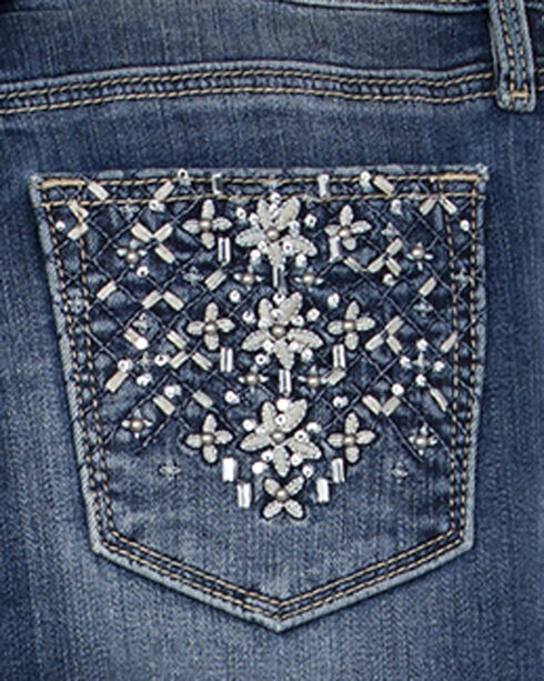 Miss Me Girls' Floral Embellished Pockets Jeans - Skinny, Indigo, hi-res