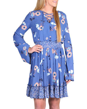 Shyanne Women's Floral Long Sleeve Peasant Dress, Multi, hi-res