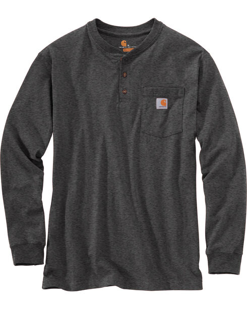 Carhartt Long Sleeve Work Henley Shirt, Medium Grey, hi-res
