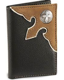 Nocona Black Cross Concho Tri-Fold Leather Wallet, , hi-res