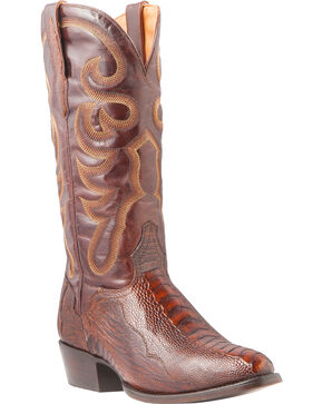 El Dorado Men's Ostrich Leg Brass Western Boots - Medium Toe, Bronze, hi-res