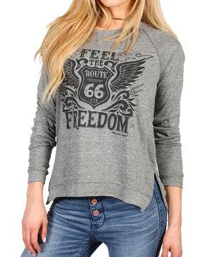 Bohemian Cowgirl Women's Feel the Freedom Long Sleeve Raglan Tee, Grey, hi-res