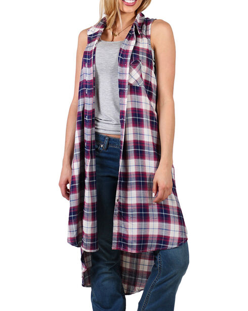 Shyanne® Women's Plaid Pocket Fashion Duster, Multi, hi-res