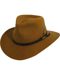Scala Men's Pecan Brown Crushable Wool Felt Outback Hat, , hi-res