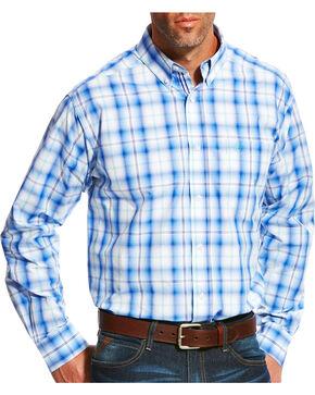 Ariat Men's Pro Series Mustang Plaid Long Sleeve Button Down Shirt - Big & Tall, Blue, hi-res