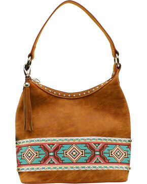 Blazin Roxx Shania Collection Aztec Ribbon Hobo Bag, Tan, hi-res