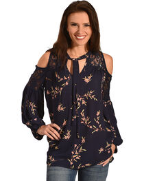 Miss Me Women's Navy Cold Shoulder Floral Print Top , , hi-res