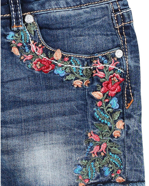 Grace In LA Girls'  Floral Embroidered Frayed Shorts, Blue, hi-res