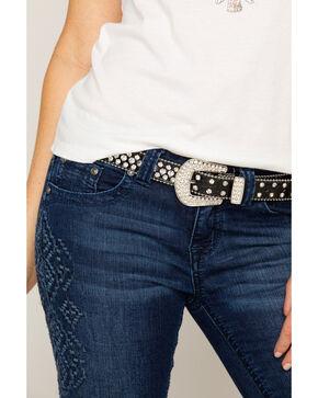Shyanne® Women's Rhinestone Skinny Belt, Black, hi-res