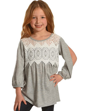 Speechless Girls' Lace Empire Waist Long Sleeve Knit Shirt, Grey, hi-res