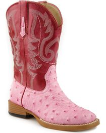 Roper Girls' Ostrich Print Cowgirl Boots - Square Toe, , hi-res