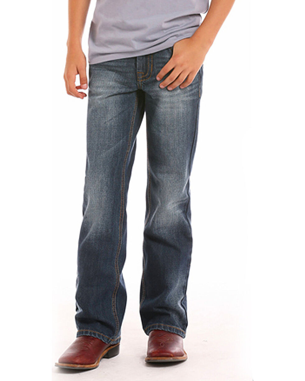"Rock & Roll Cowboy Boys' (4-20) Copper ""V"" Jeans - Boot Cut , Indigo, hi-res"
