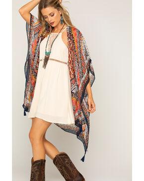 Shyanne Women's Printed Sheer Blanket Scarf, Multi, hi-res