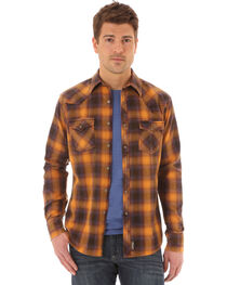 Wrangler Retro Men's Long Sleeve Gold Plaid Snap Shirt, , hi-res