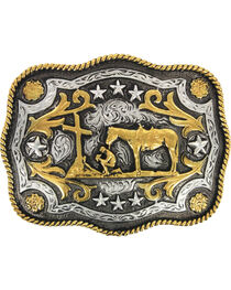 Cody James® Men's Christain Cowboy Rectangle Belt Buckle, Silver, hi-res