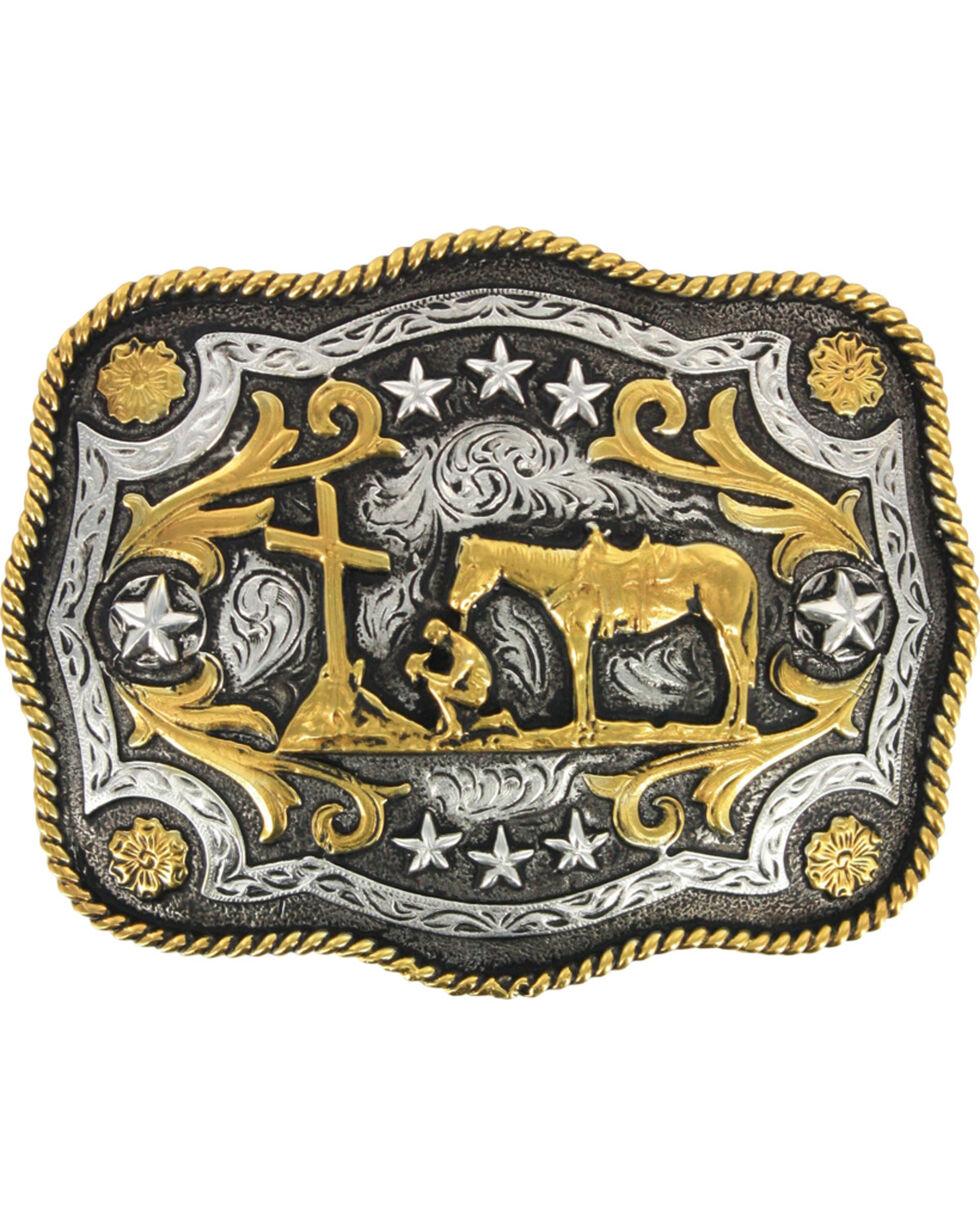 Cody James® Men's Christain Cowboy Rectangle Belt Buckle, Silver, hi-res