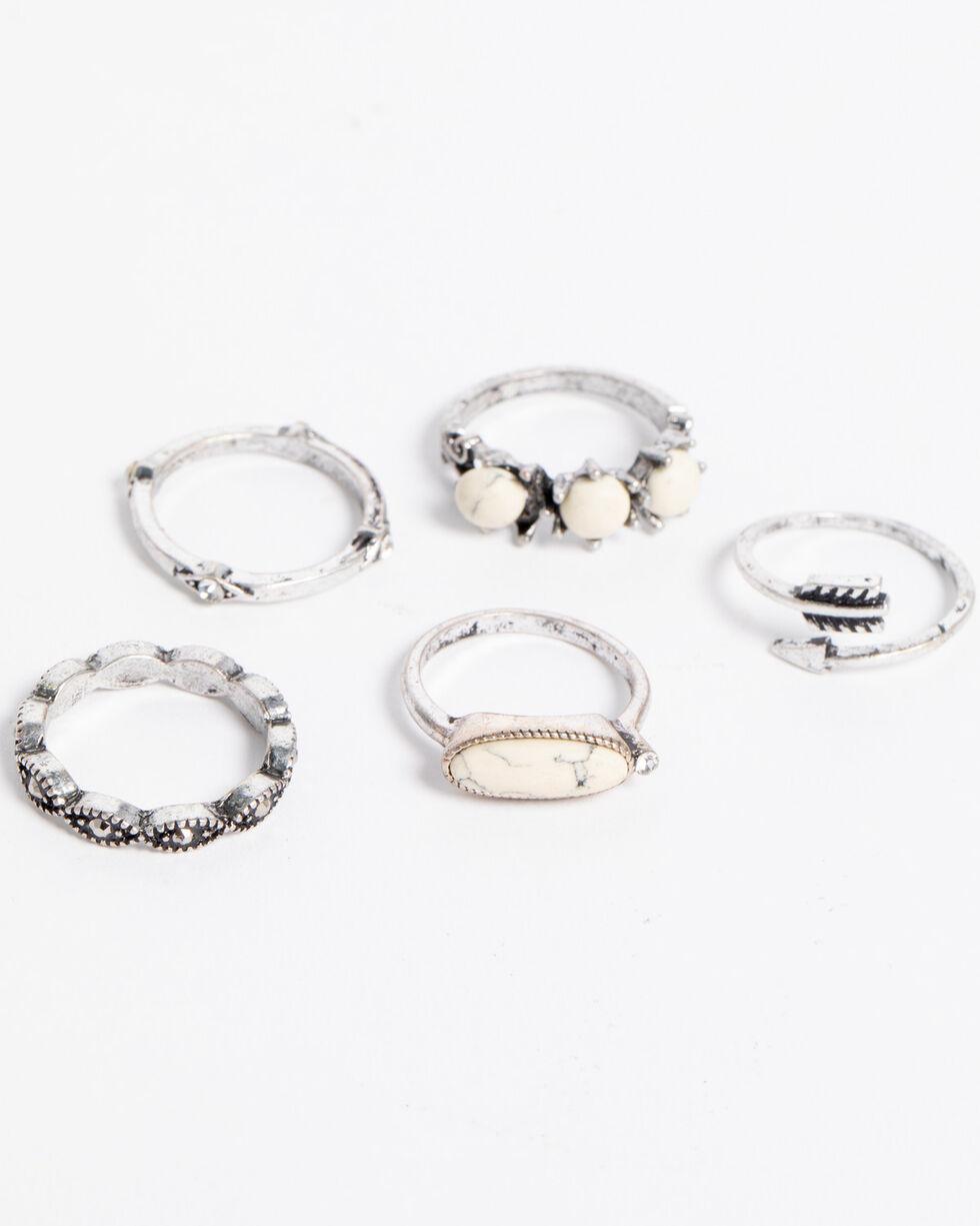 Shyanne® Women's Rhinestone & Arrow Ring Set, Silver, hi-res