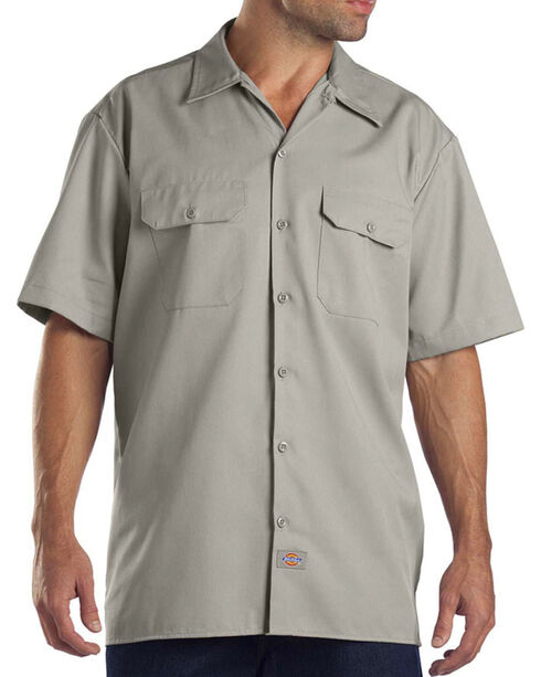 Dickies Men's Short Sleeve Two Pocket Hanging Work Shirt, Beige/khaki, hi-res