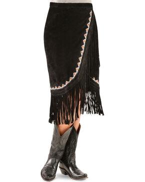Kobler Leather Women's Yuma Fringe Suede Skirt, Black, hi-res