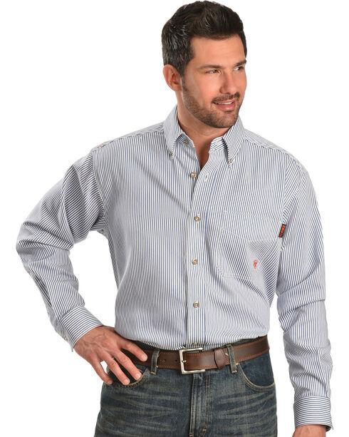 Ariat Men's Woven Plaid Print Fire Resistant Work Shirt, Blue, hi-res