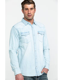 Levi's Men's Washed Blue Denim Long Sleeve Western Shirt, , hi-res