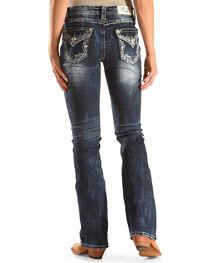Grace in LA Women's Medium Blue Floral Pocket Jeans - Boot Cut , , hi-res