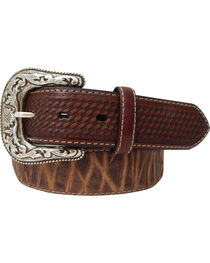Roper Men's Top Grain Leather Belt with Bark Design , , hi-res