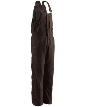 Berne Men's Original Washed Insulated Bib Overalls - Short , Bark, hi-res