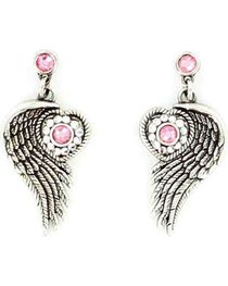 Blazin Roxx Winged Heart Earrings, , hi-res