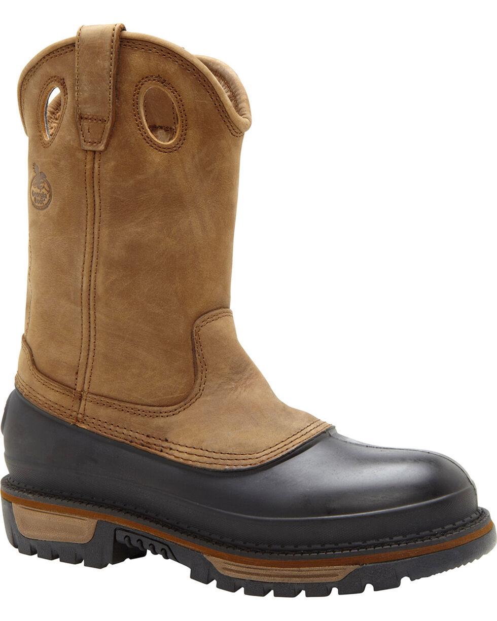 Georgia Men's Muddog Wellington CC Work Boots, Brown, hi-res