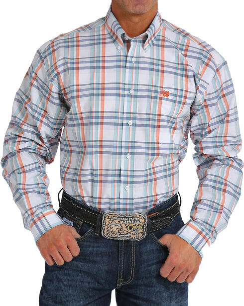 Cinch Men's White Plaid Long Sleeve Button Down Shirt, White, hi-res