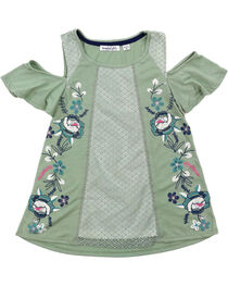 Tempted Girls' Cold Shoulder Floral Glitter Short Sleeve Shirt , , hi-res