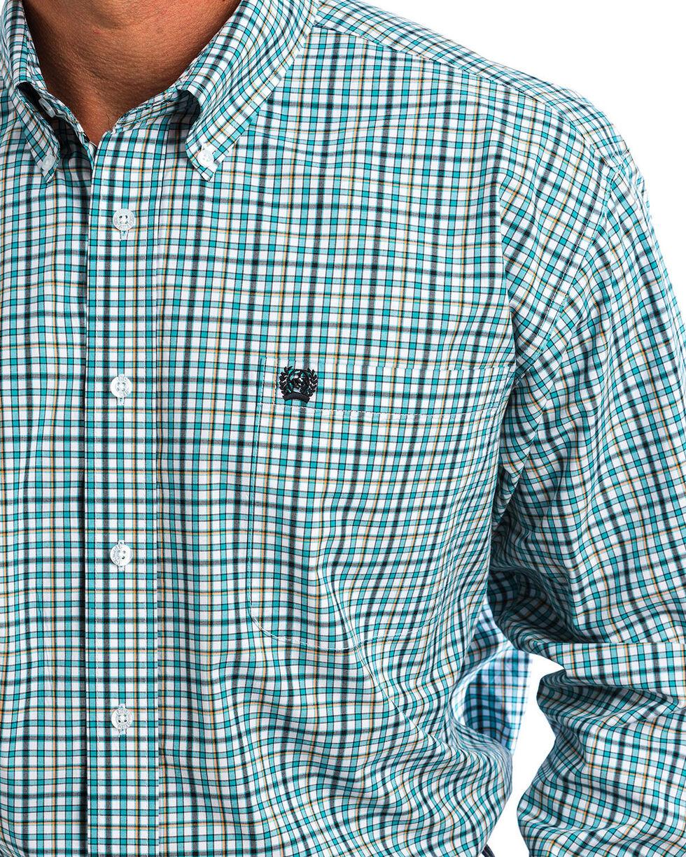 Cinch Men's Green & White Plaid Button Down Shirt , White, hi-res