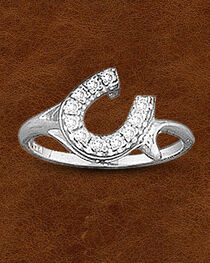 Kelly Herd Sterling Silver Offset Rhinestone Horseshoe Ring, , hi-res