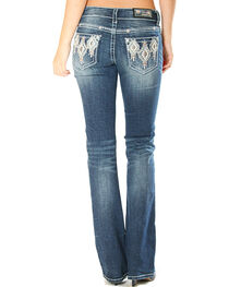Grace in La Women's Aztec Pattern Pocket Jeans - Boot Cut , , hi-res