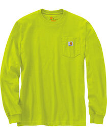 Carhartt Men's Green Long Sleeve Pocket T-Shirt , , hi-res