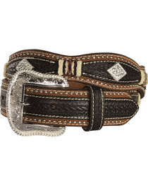 Nocona Scalloped Basketweave Rawhide Laced Concho Belt, , hi-res