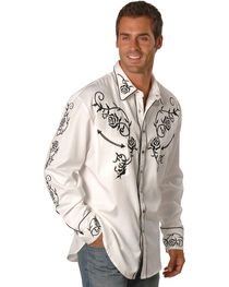 Scully Men's Floral Embroidered Western Shirt, , hi-res