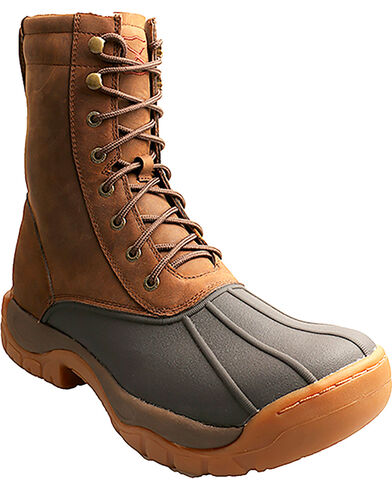 """Men's 8"""" Lace-Up Rubber Boot Round Toe Brown 10 EE US"""