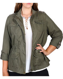 Democracy Women's Snap Front Plus Jacket, , hi-res