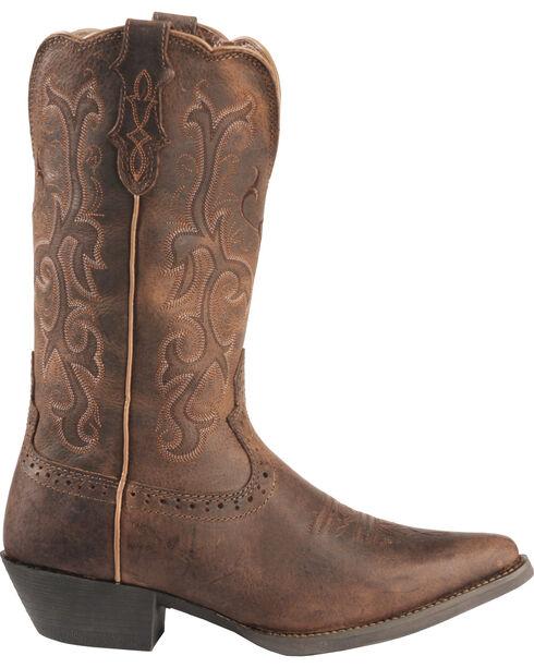 Justin Distressed Puma Cowhide Stampede Cowgirl Boots - Snip Toe, Tan, hi-res