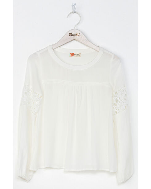 Miss Me Girls' White Free Flow Peasant Top , White, hi-res