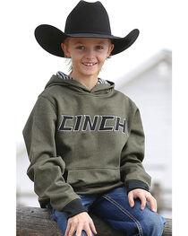 Cinch Boys' Olive Tech Fleece Hoodie , , hi-res