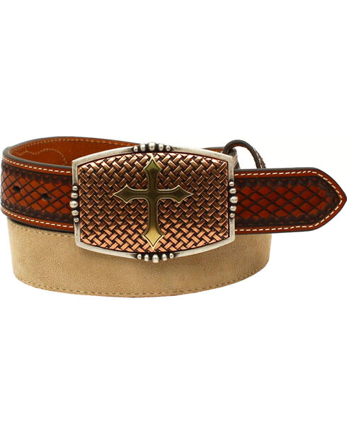 Nocona Men's Embossed Tabs Western Belt , Tan, hi-res
