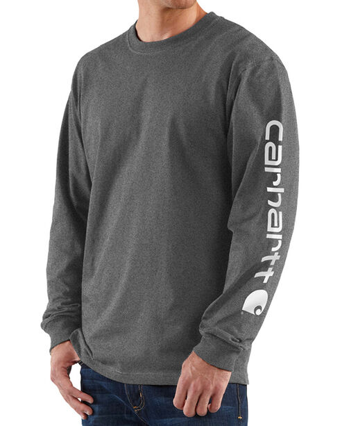Carhartt Men's Signature Graphic Logo T-Shirt, Heather Grey, hi-res