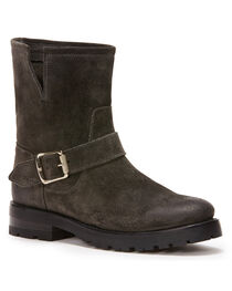 Frye Women's Charcoal Natalie Short Engineer Boots - Round Toe , , hi-res