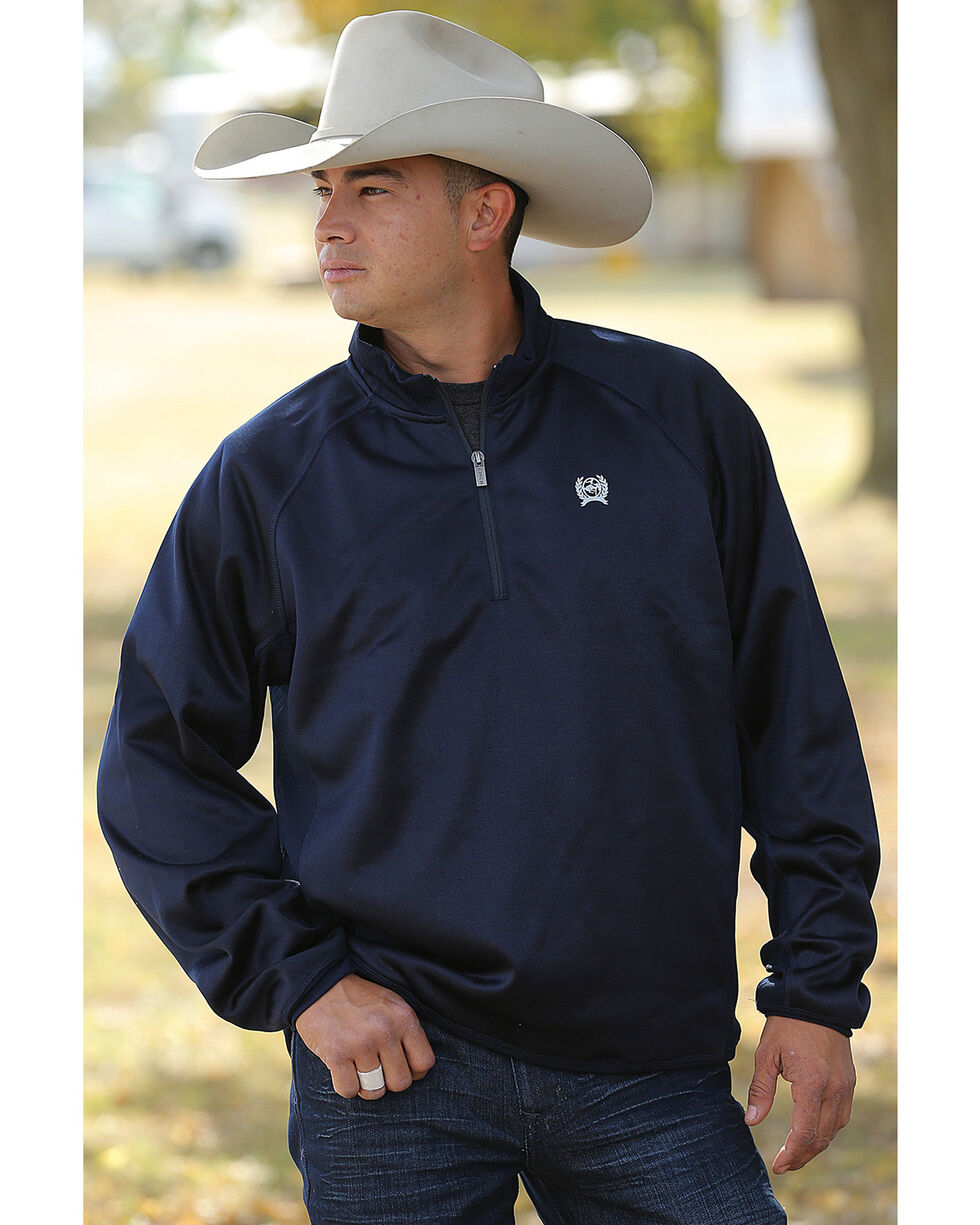 Cinch Men's Navy Fleece 1/4 Sweater Pullover , Navy, hi-res