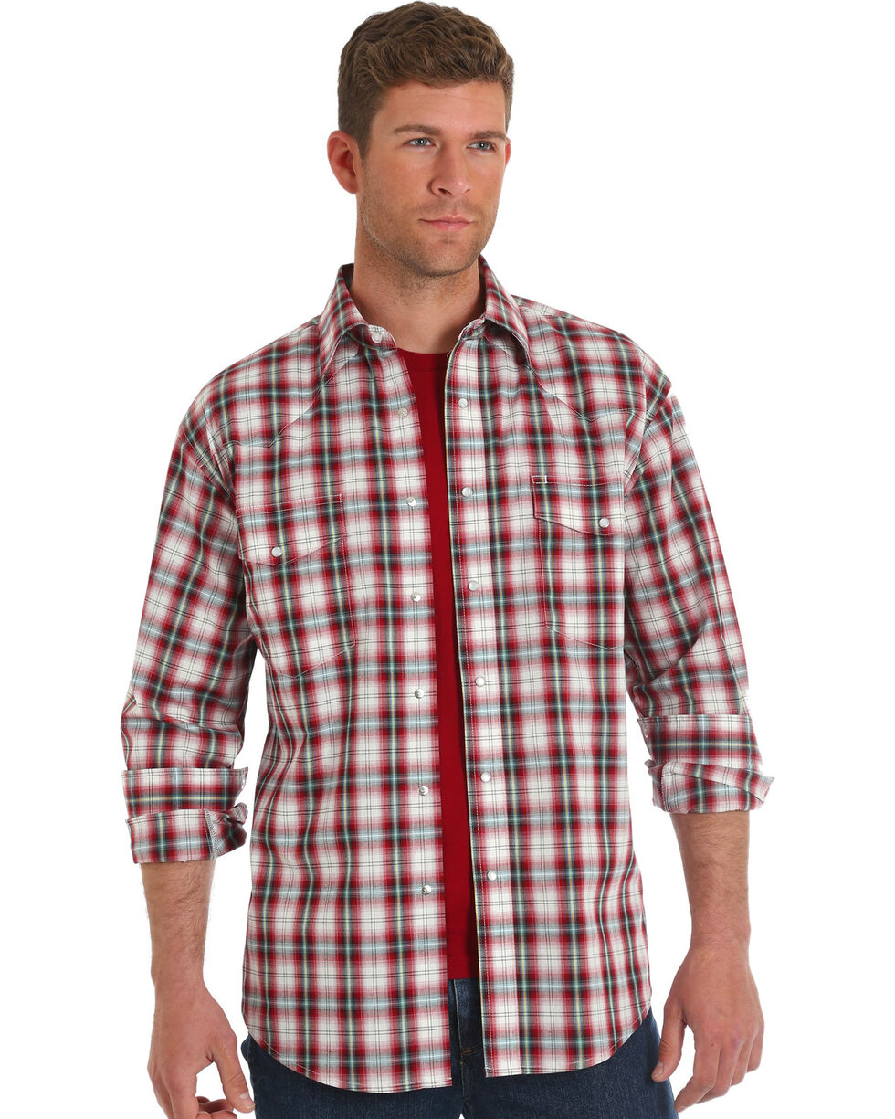 Wrangler Men's Red Wrinkle-Resistant Plaid Shirt , Red, hi-res